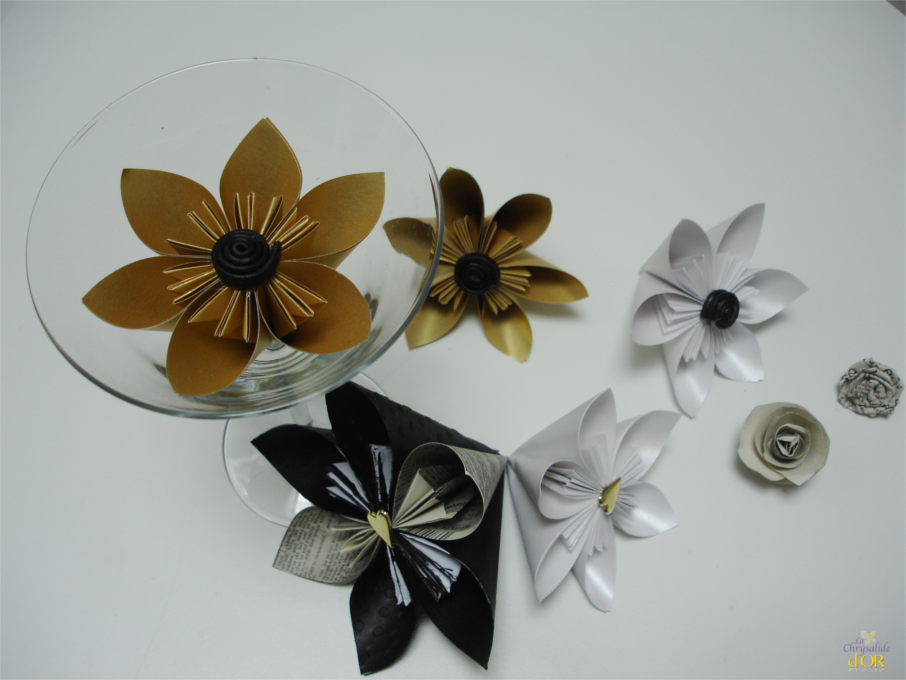 bouquet fleurs en origami. Black Bedroom Furniture Sets. Home Design Ideas